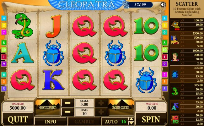 Free Slots 247 - Main game board featuring five reels and 10 paylines with a $2,500 max payout.