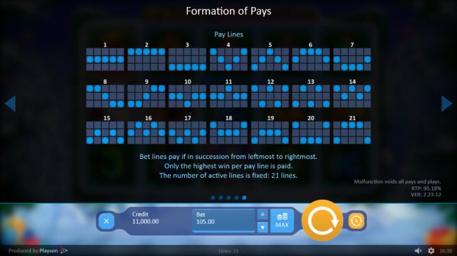 Paylines 1-21 by Free Slots 247