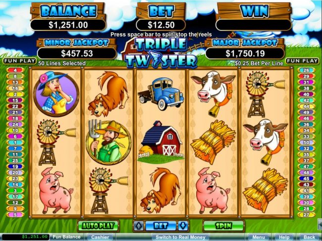 Free Slots 247 - An animal farm themed main game board featuring five reels and 50 paylines with a $250,000 max payout