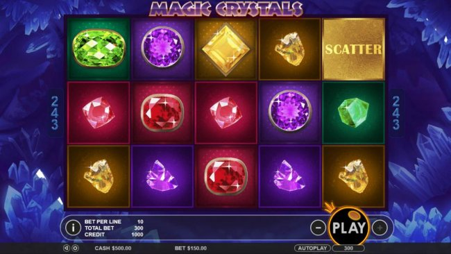 Main game board featuring five reels and 243 winning combinations with a $6,250 max payout by Free Slots 247