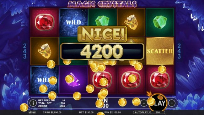 Free Slots 247 - A 4200 coin big win triggered by multiple winning combinations.