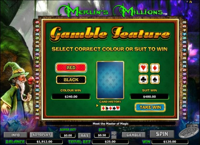gamble feature game board - select colour or suit to win by Free Slots 247