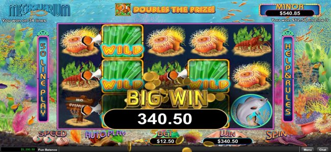 Multiple winning paylines triggers a 340.50 big win! by Free Slots 247