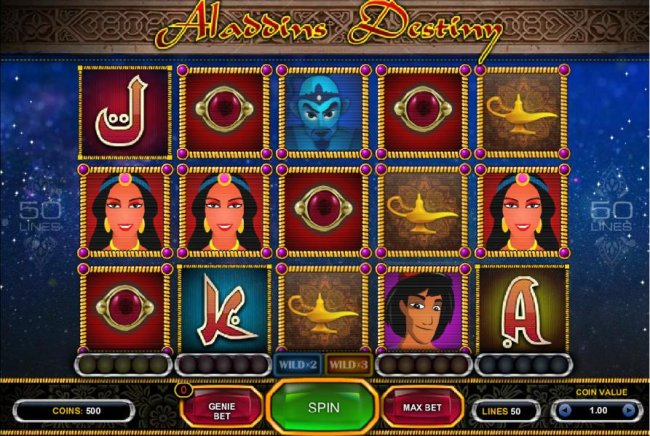 Main game board featuring five reels and 50 paylines with a $500 max payout - Free Slots 247