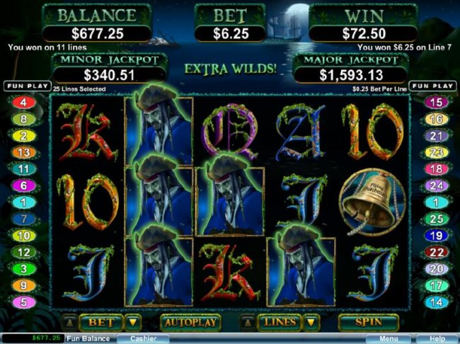 Multiple winning paylines triggered by Ghost Captain wild symbols. by Free Slots 247