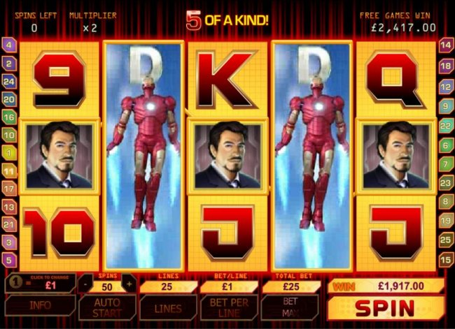 5 of a kind leads to a big win jackpot during bonus round by Free Slots 247