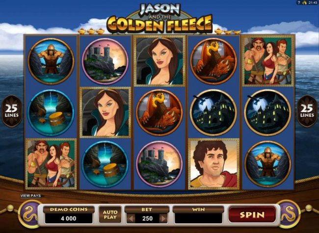 Main game board featuring five reels and 25 paylines with a $20,000 max payout by Free Slots 247