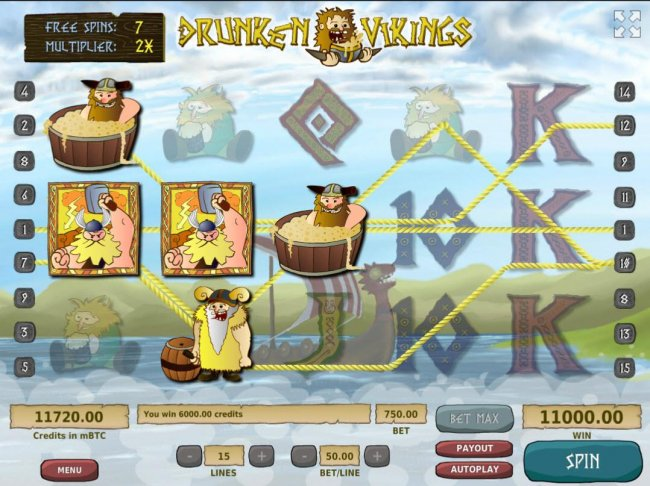 A 6,000.00 big win triggered by multiple winning paylines during the free spins bonus feature. by Free Slots 247