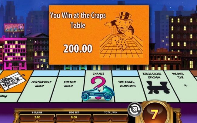 Landing on chance, you can draw a card. Here you win at the craps table 200.00. - Free Slots 247