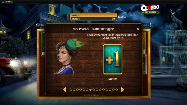 Mrs. Peacock Scatter Retriggers by Free Slots 247