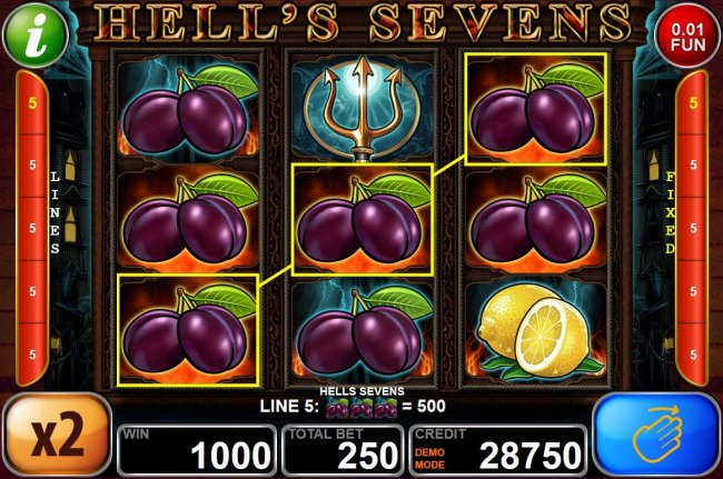 Plum icons trigger multiple winning paylines by Free Slots 247