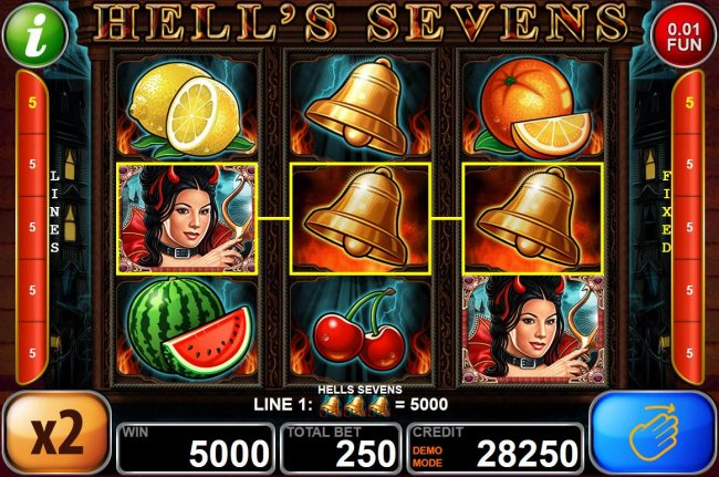 A 5000 coin jackpot activated by a 3 of kind gold bells - Free Slots 247