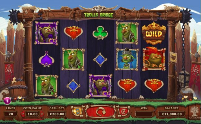 Main game board featuring five reels and 20 paylines with a $10,000 max payout. - Free Slots 247