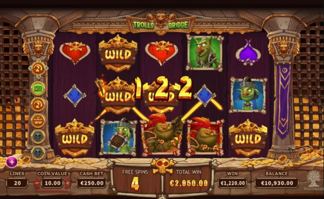 Multiple winning paylines triggers a 122 coin big win during the free games feature! by Free Slots 247