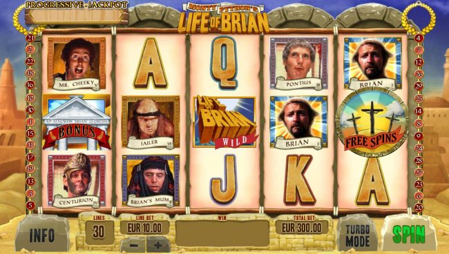 Main game board featuring five reels and 30 paylines with a progressive jackpot max payout by Free Slots 247