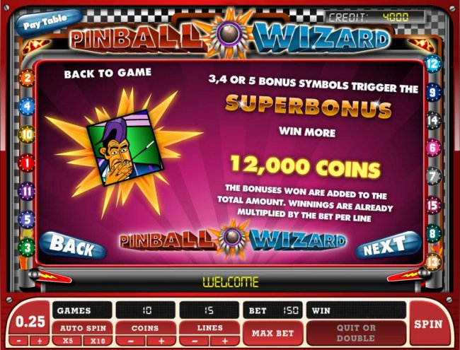 3, 4 or 5 bonus symbols triggers the Superbonus. Win up to 12,000 coins! by Free Slots 247
