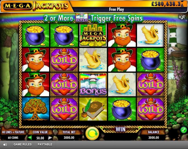Free Slots 247 - Main game board featuring five reels and 40 paylines with a progressive jackpot max payout
