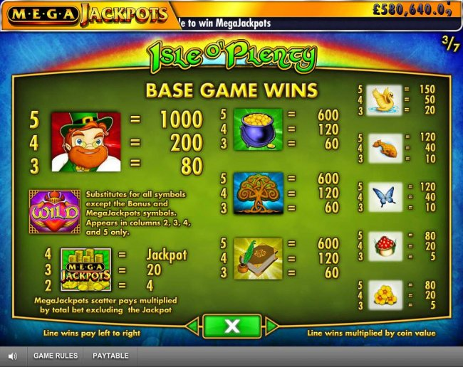 Free Slots 247 - Base Game Wins Paytable