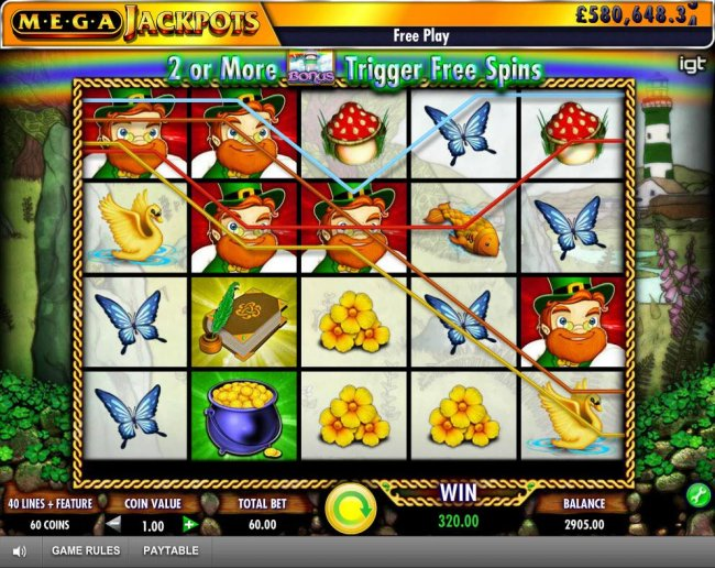Multiple winning paylines triggers a 320.00 big win! by Free Slots 247