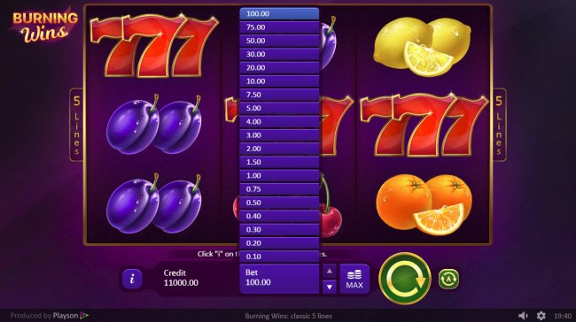 Burning Wins Classic 5 Lines by Free Slots 247