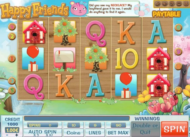 A cartoon themed main game board featuring five reels and 9 paylines with a $900,000 max payout - Free Slots 247