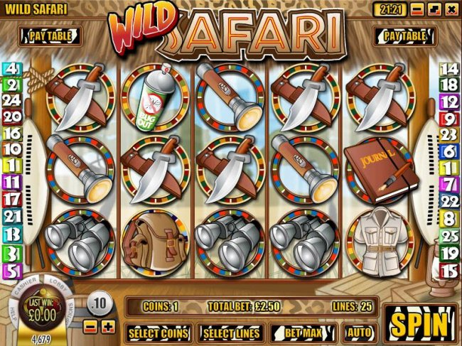 main game board featuring five reels and twenty paylines with an 5000x max payout - Free Slots 247