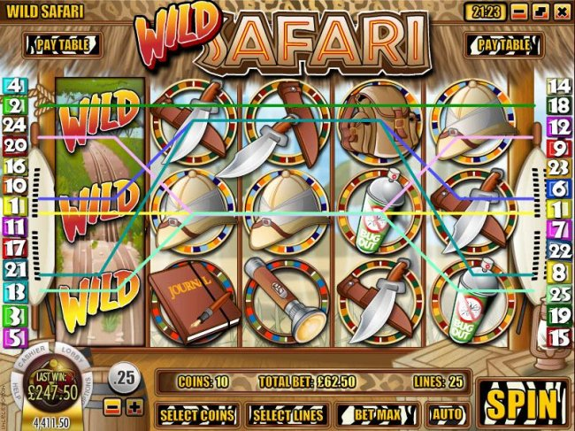 multiple winning paylines triggers a $247 big win - Free Slots 247