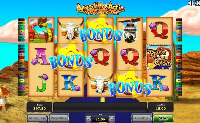 Three or more bonus symbols triggered feature. - Free Slots 247