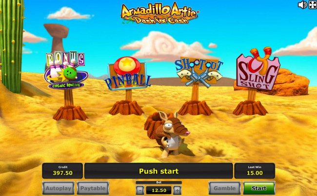 Free Slots 247 - Bonus game board - Armadillo Artie will jump into the hole and randomly popup at one of the bonus features