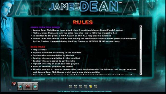 Free Slots 247 - James Dean Pick Bonus Rules and Game Rules