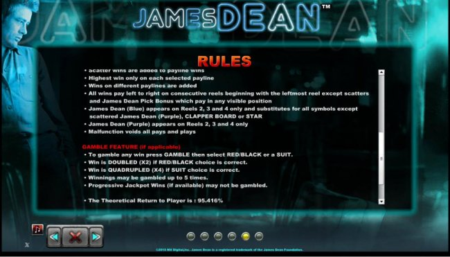 Gamble feature rules - The theoretical return to player is : 95.416% by Free Slots 247