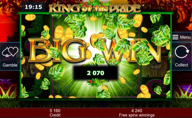 A 2070 big win triggered during the Free Games bonus feature. - Free Slots 247