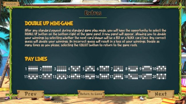 Double Up Mini-Game rules and Payline Diagrams  1-20 by Free Slots 247