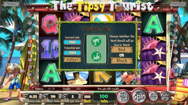 The Double Up mini-game feature is available after every winning spin. Choose whether the next result will be red or black. by Free Slots 247