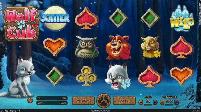An outdoor adventure themed main game board featuring five reels and 20 paylines with a $4,000,000 max payout by Free Slots 247