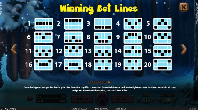 Payline Diagrams 1-20. Only highest win per bet line is paid. Bet line wins pay if in succession from the leftmost reel to the rightmost reel. by Free Slots 247