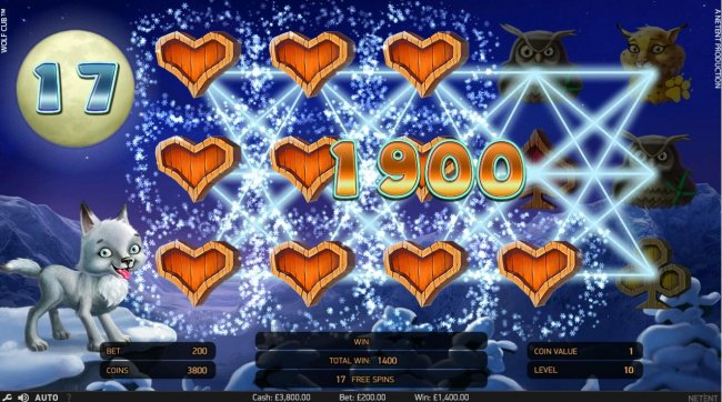 A 1,900.00 big win triggered by the Blizzard Feature during the free spins feature. - Free Slots 247