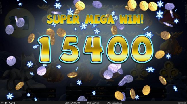 Super Mega Win of 15,400 triggered during the free spins feature. - Free Slots 247
