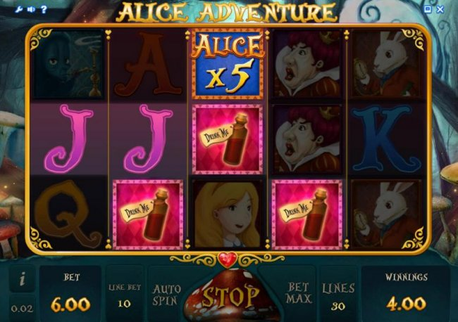three drink me icons triggers bonus feature - Free Slots 247