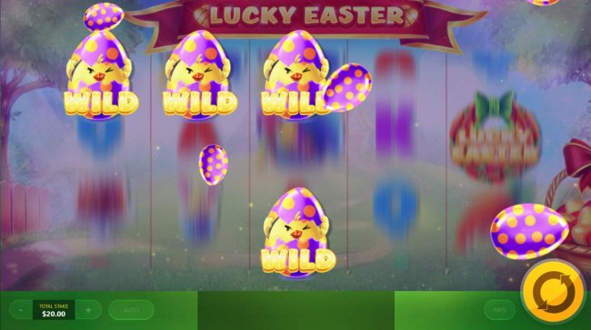Eggs drop from above landing on the reels chaning random symbols into wilds. - Free Slots 247