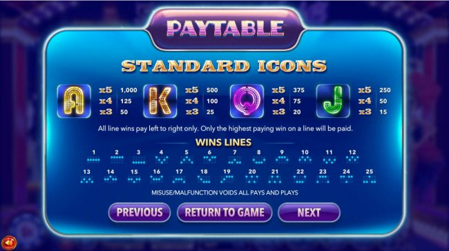 Low value game symbols paytable and payline diagrams 1 to 25. - Free Slots 247