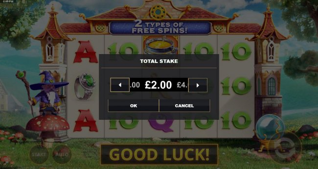 Click the Stake button to adjust the coin value. - Free Slots 247