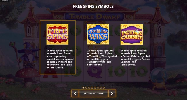 Free Slots 247 - There are 3 Free Spin feature - Free Spins, Tumbling Wins and Potion Cabinet.