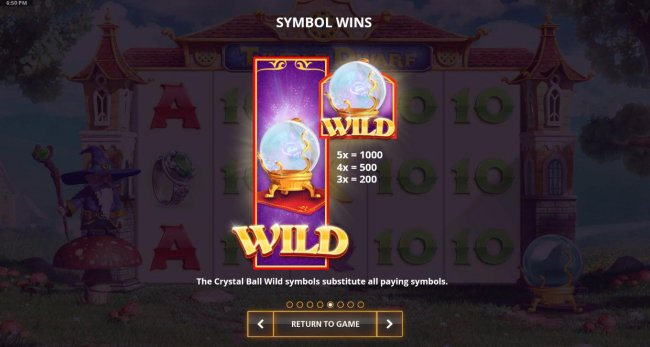Crystal Ball wild symbol paytable by Free Slots 247