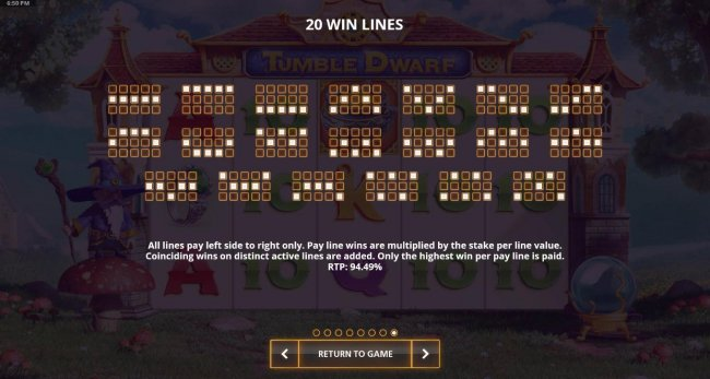 Payline Diagrams 1-20. Theoretical return to player for this game is 94.49%. - Free Slots 247