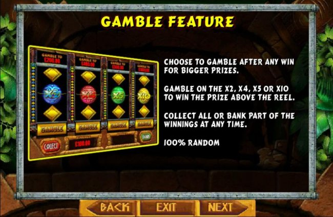 Gamble feature is available after each winning spin. Gamble on the x2, x4, x5 or x10 to win the prize above the reel. Collect all or bank part of the winnings at any time. 100% random. by Free Slots 247