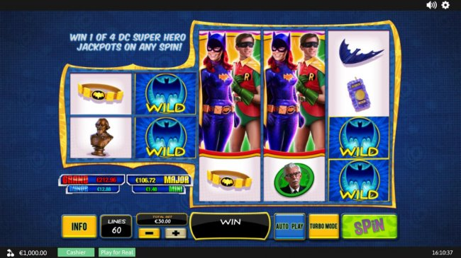 A 1960s TV action hero themed main game board featuring five reels and 60 paylines with a progressive jackpot max payout - Free Slots 247
