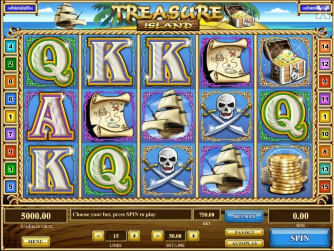 Free Slots 247 - A pirate themed main game board featuring five reels and 15 paylines with a $750,000 max payout