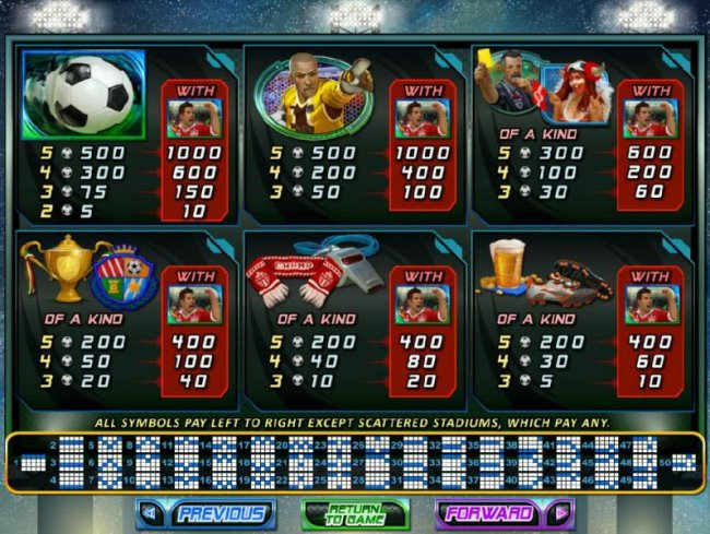 Slot game symbols paytable and payline diagrams by Free Slots 247