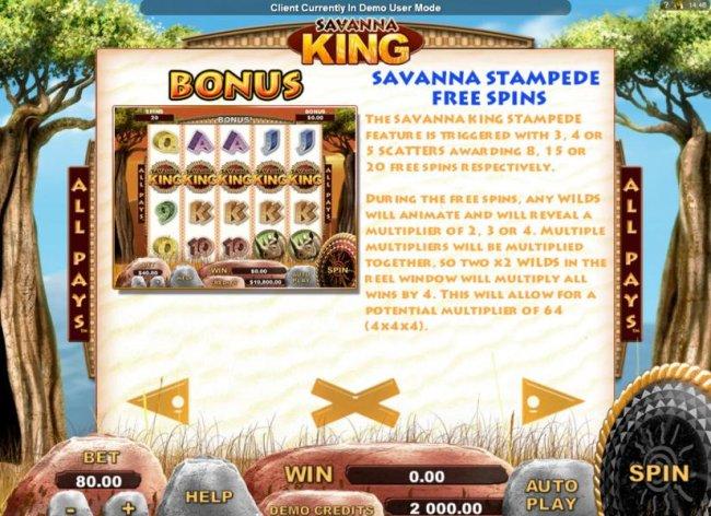 Free Slots 247 - Savanna Stampede Free Spins Bonus Feature Rules